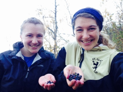 Tara and I picking some free mountain produce
